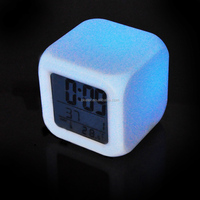 Nature Sound Digital 7 Color Changing cube shape Timer Alarm Clock with Thermometer