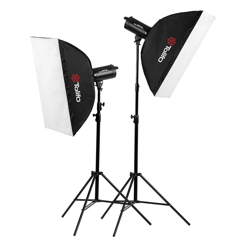 Tolifo Mactop 800W (400Wx2) Professional Photographic Studio Strobe Flash Light Kit - Soft Box, Stands, Lamps, Trigger,bag