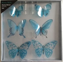 Blue 6PCS 3D Butterfly Wall Stickers Decor Art Decorations 3 size