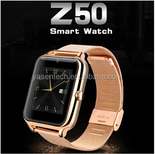 GSM Bluetooth Metal Smart Watch Waterproof Phone with Camera Pedometer Support TF SIM NFC HD IPS Z50 Smart watch for android ISO