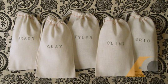 Name Printed Muslin bag Made from Cotton