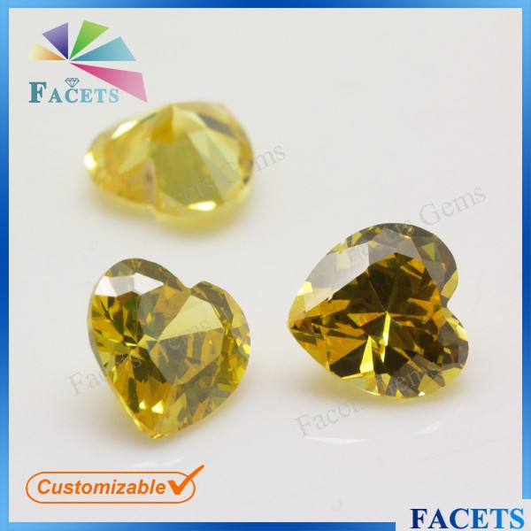 Facets Gems CZ Semi Precious Stone Polished Stone Hearts Golden Topaz Stone