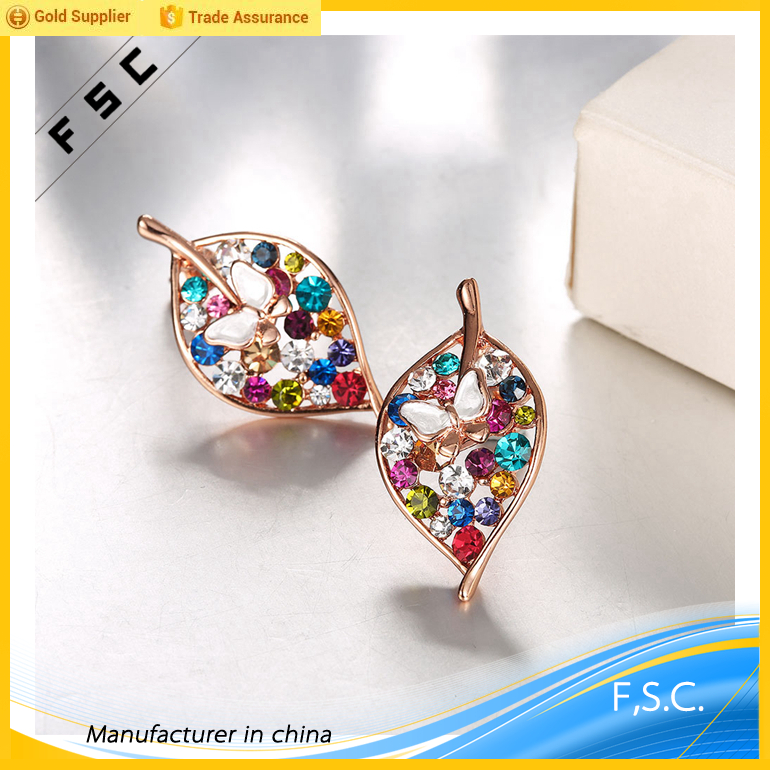 wholesale cheap gold plated leaf butterfly shaped colored rhinestone alloy earings for women 2017