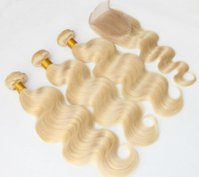 Aliexpress Wholesale 8A grade cheap blonde brazilian virgin hair bundles with lace closure