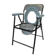 Economic Folding Portable Toilet Commode Chair with Bucket for Elderly