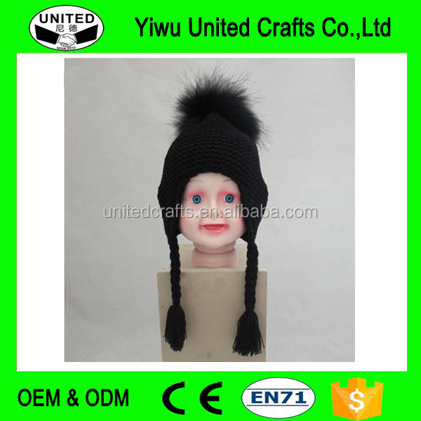 New Fashion Lovely Baby Real Raccoon Fur Pompon Bobble Hats and Caps Funny Tassel Beanie Hat for Boys and Girls
