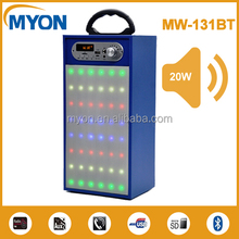 Portable Audio Player Wood material led disco light Home Theatre system speaker with microphone