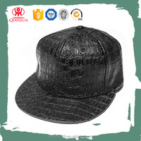 wholesale custom 6 panel snapback hat crocodile leather snapback hats