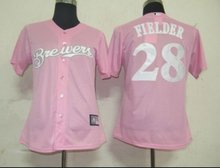 Women Jerseys Milwaukee Brewers #28 Prince Fielder Pink Baseball Softball