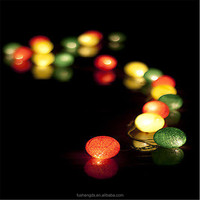 20 Cotton Ball Lights String Fairy Wedding Christmas Party {Red Yellow Green}