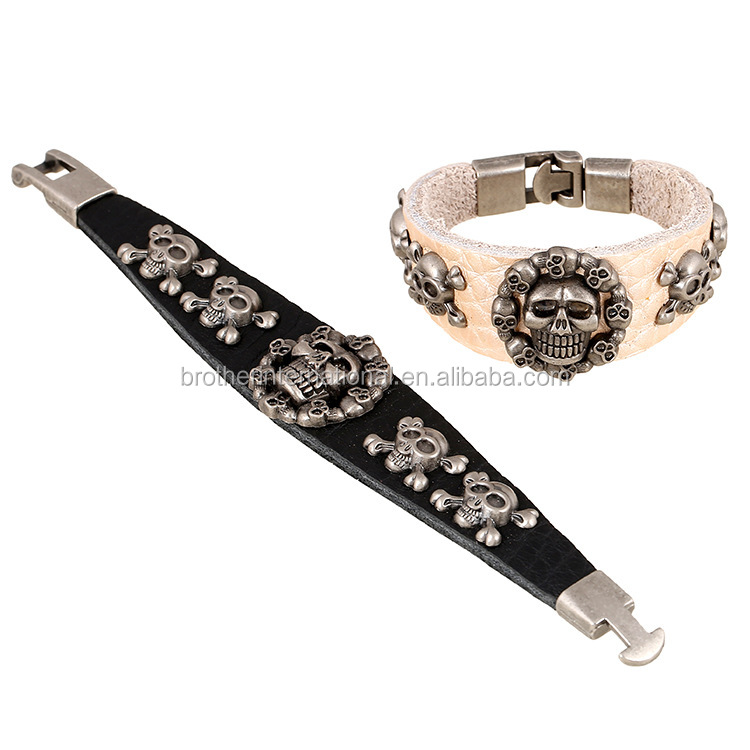 punk design bracelet skull leather bangle with real cow leather wristband for men