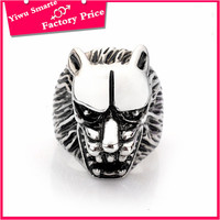 turkish man new fashion antique silver lion head design stainless steel finger ring
