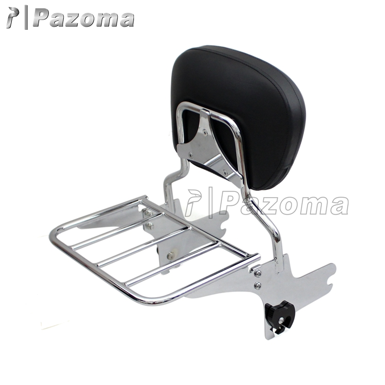 Pazoma Chrome Detachable Passenger Backrest Motorcycle Sissy Bar for 97-08 Harley Touring