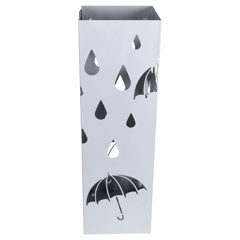 Silver Gray Metal Umbrella Stand Umbrella Holder Home Office Decor with Drip Tray and Hooks