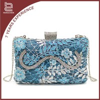Blue Printing crystal Evening Bags acrylic skull purse for women