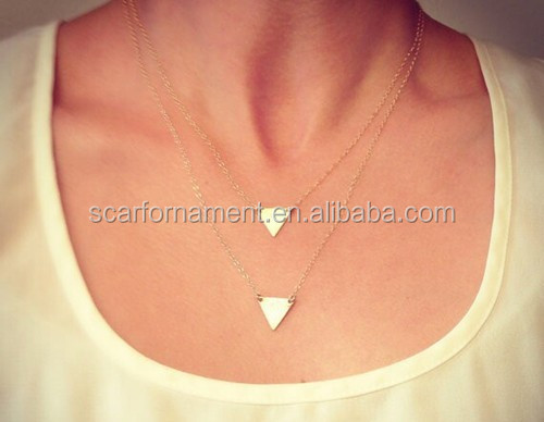 Factory Wholesale Women Gold Chain Alloy Necklace Two Layer Design With Triangle Board/Chunky Pendant Sweater Neckalce