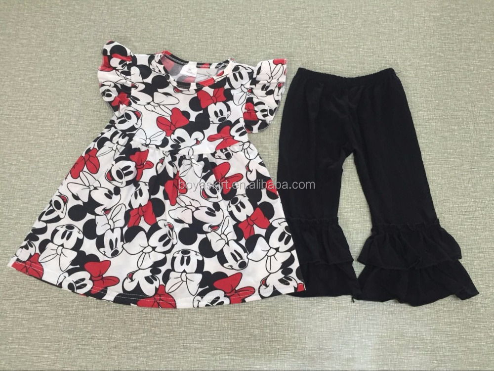 mouse top patterns dress match ruffle leggings set baby clothing wholesale china