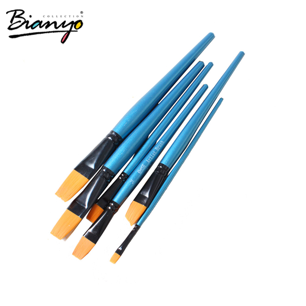 Wholesale golden nylon art brush,stencil brushes wholesale,promotional watercolor artist paint brush set