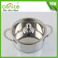 Mini stainless steel cooking pot / 16cm stock pot with glass lid / saucepan
