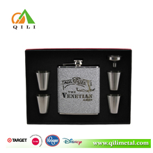 FDA 6oz leather hip flask set novelty gifts with cup,funnel
