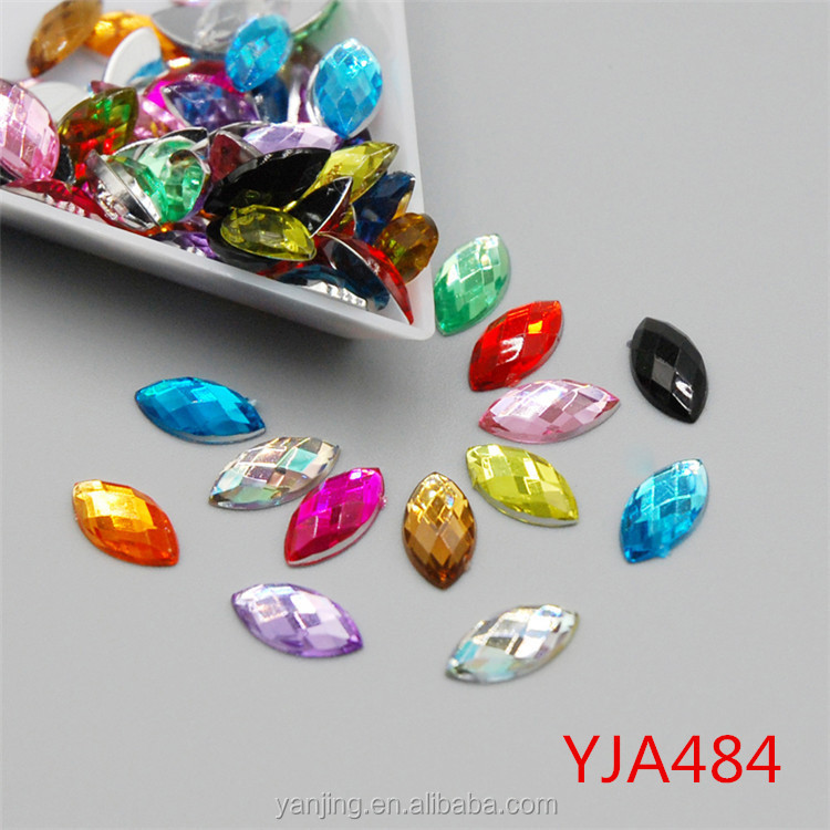Hot Sale Top Quality 5x10mm 14 Colors Horse Eye Flatback Acrylic Rhinestone Jewelry Findings DIY Supplies