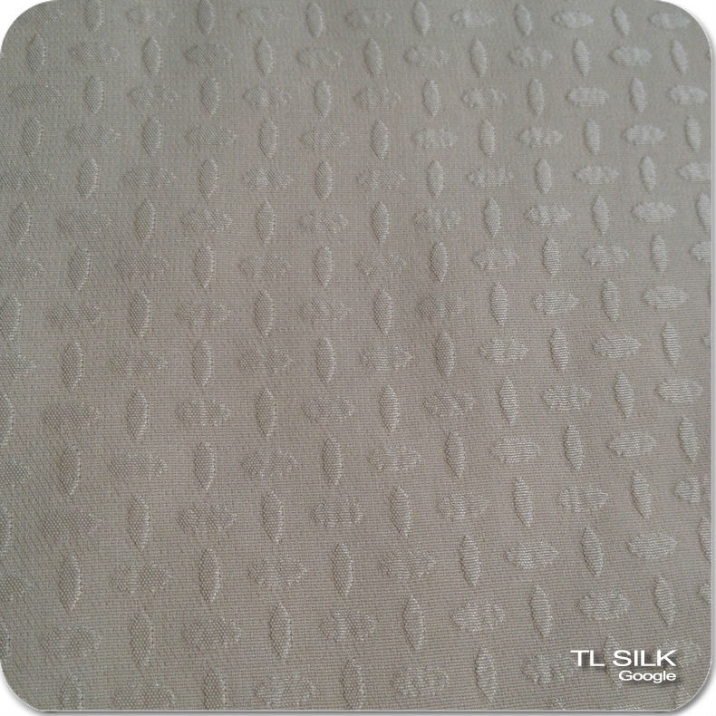 Lycra Dot Design Ivory 100% Pure Mulberry Silk JQD Satin Stretch Fabric S14