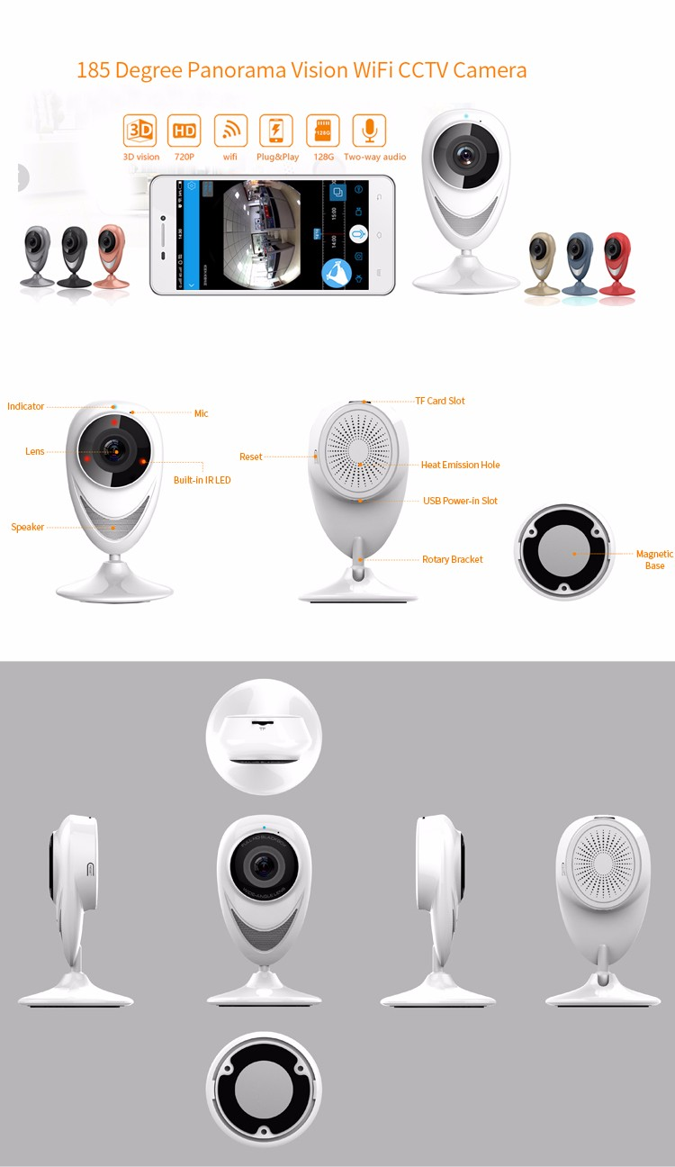 Hot selling cctv 720p ip camera fisheye panoramic camera