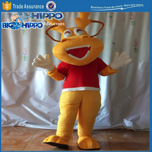 Laughing professional yellow dear city symbol forest animal promo ad cute friendly high quality custom mascot costume