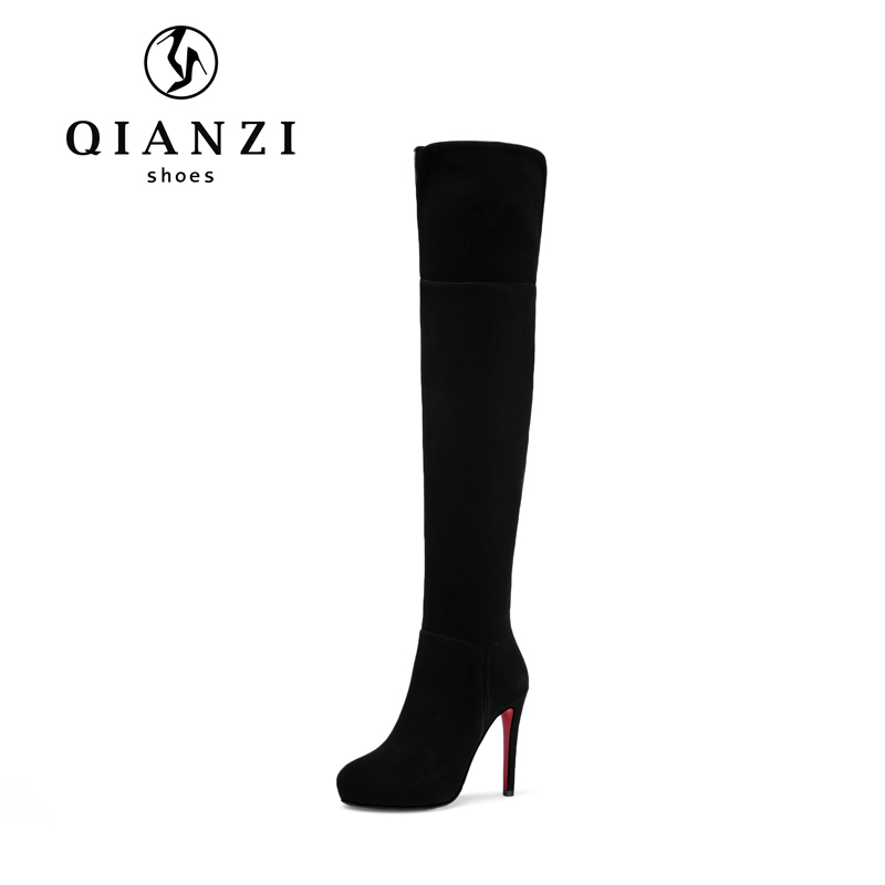 9320 New fashion Kid suede leather latex thigh high heel dress boots for women