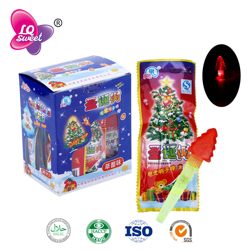 6g Electric light christmas tree lollipop light up candy toys