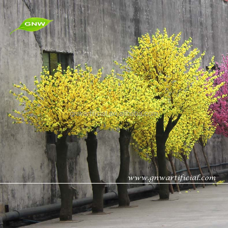 BLS035 GNW Artificial Yellow Flower Types Cherry Blossom Tree for outdoor decoration