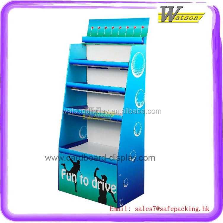 high quality 4 layer free floor standing single side corrugated cardboard display shelf for swim products