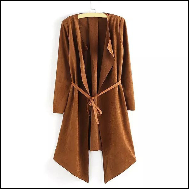 Custom Design Women Faux Suede Waterfall Fashion Casual Jackets 2017