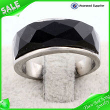 China alibaba Exquisite Full stainless steel ring gemstone black onyx rings