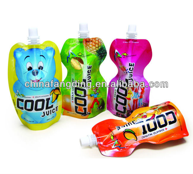 100ml water drink pouch with spout packaging liquid stand up pouch with spout