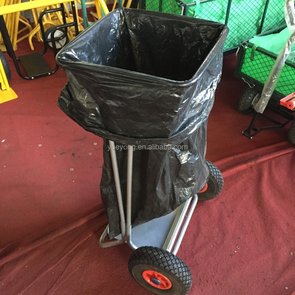 Garden rubbish cart with plastic bag