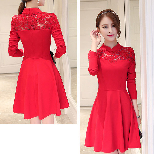 WAT1796 Hitz Korean version Slim thin long-sleeved dress female women's boutique