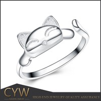 CYW 925 sterling silver cat animal shaped rings small order jewelry alibaba in stock wholesale