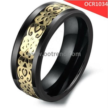 Hot sale black ceramic rings inlay yellow carbon fiber