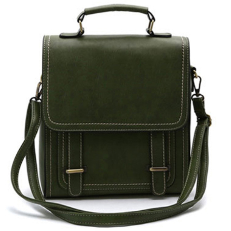 PU leather Olive green fashion school bags backpack