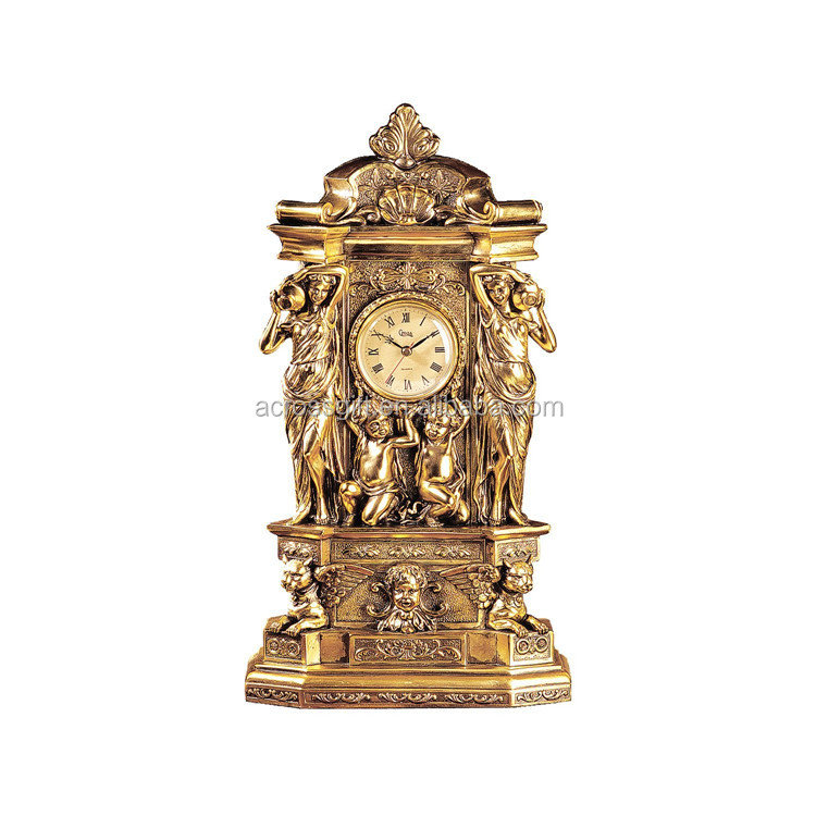 hot sale personalized handmade decorative Antique Gold Clock
