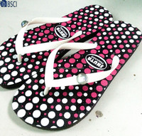 OEM custom made summer print flat PE slippers flip flops