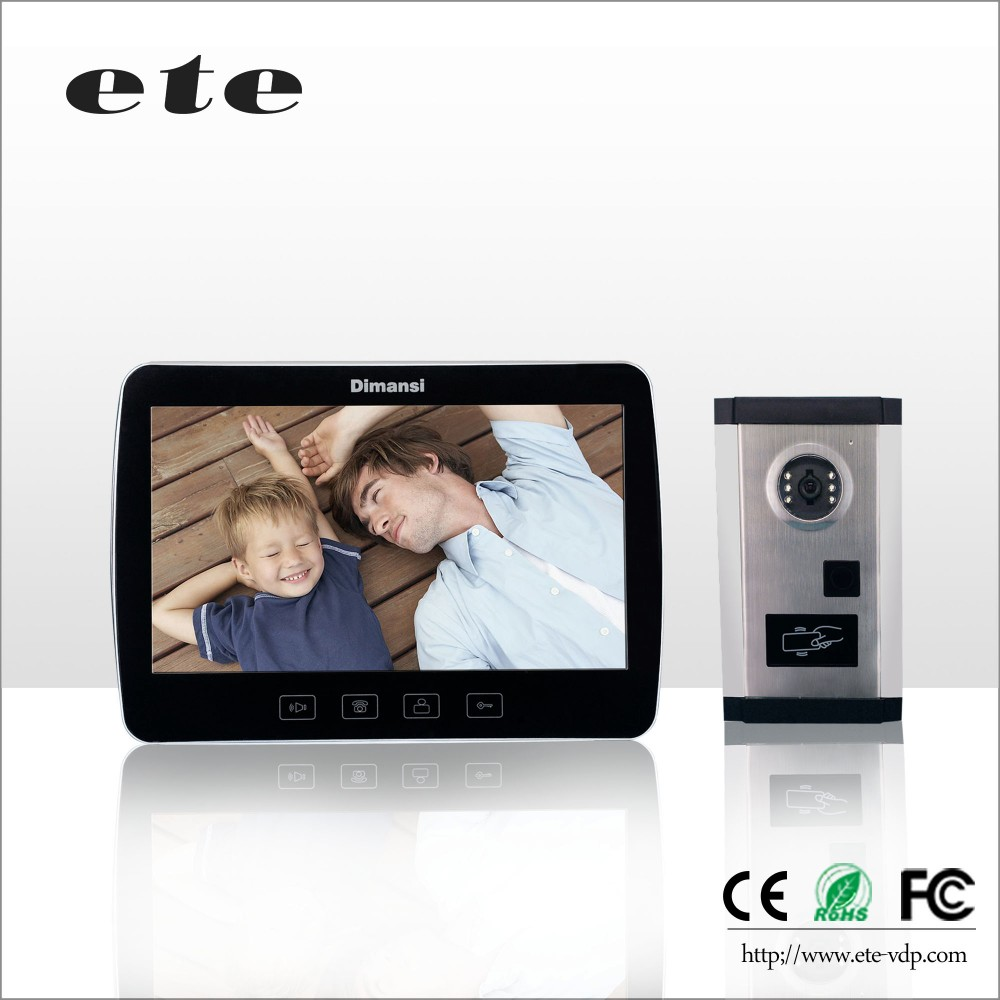 10 inch TFT-LCD smart home security system ETE 700tvline door phone intercom video door phone with ID card unlock function