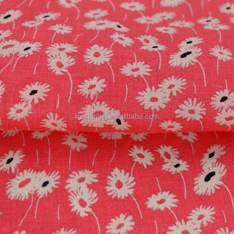 100% linen printed fabric for women's shirt & blouse