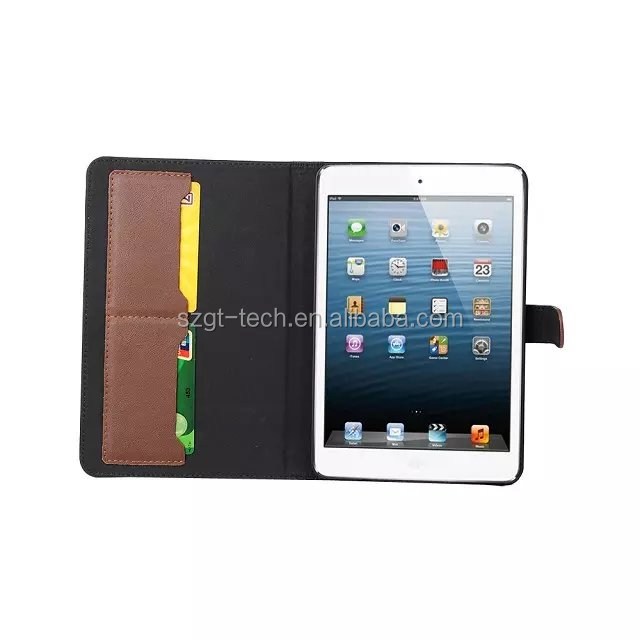 BSCI factory! Book style wallet leather case for iPad mini 4