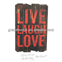 Fir Wood Live Laugh Love Black Red Colorful Wall Art