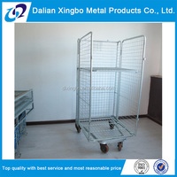 Zinc plated galvanized warehouse steel rolling metal storage cage