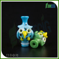 3X Pipe Owl style hand made pyrex glass cigarette mouthpiece filters drip