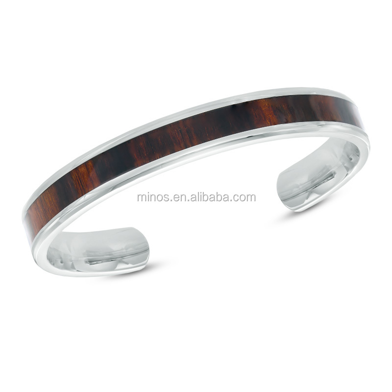 New Fashion Men's Dark Wood Inlay Cuff Bracelet in Stainless Steel