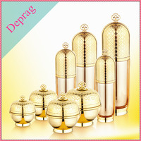 new luxury acrylic cosmetic gold bottle,gold body cream container,cosmetic packaging no minimums